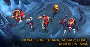 Novas Skins: Diana, Alistar, Elise, Renekton, Sivir.